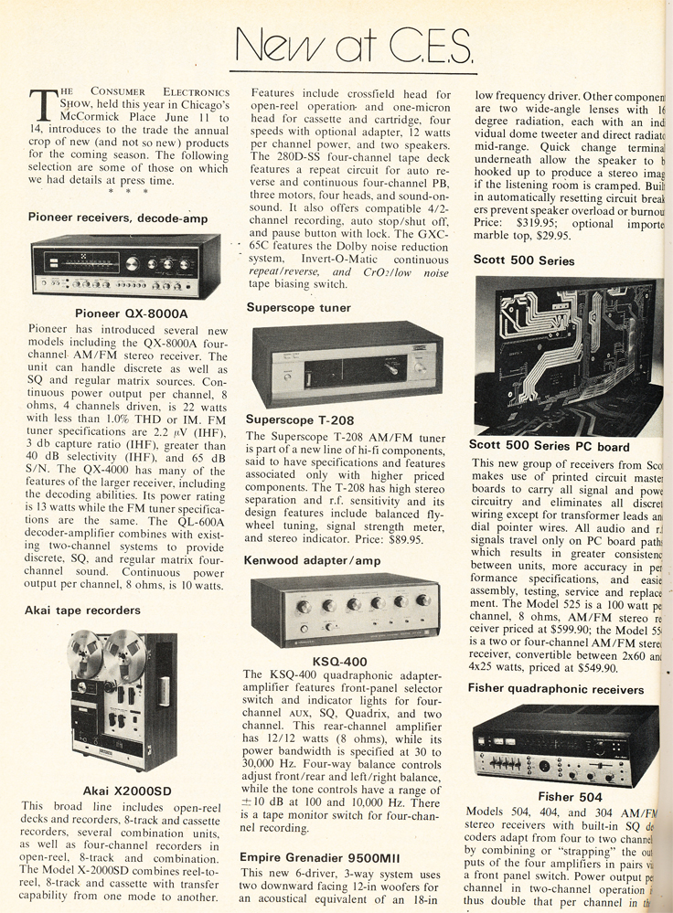 1972 listing what's New at CES in Reel2ReelTexas.com's vintage recording collection