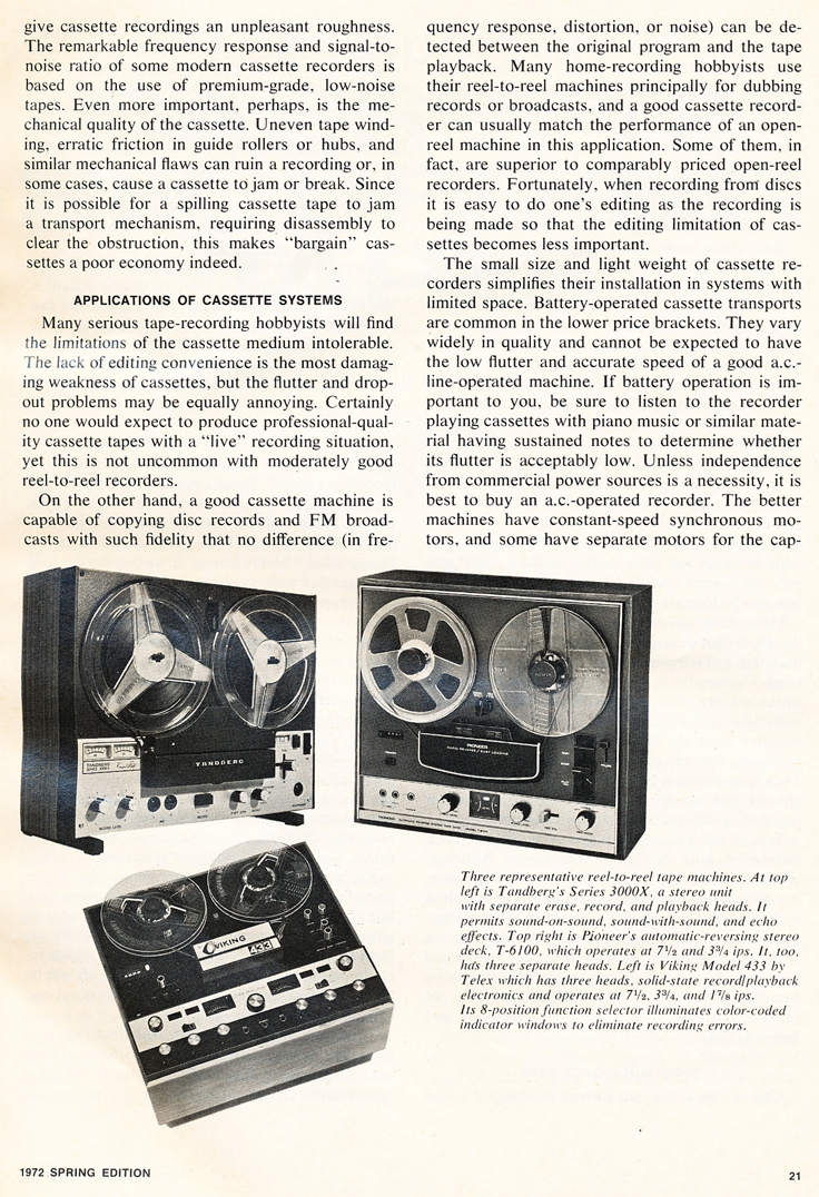 1972 Stereo Review Tape Recorder Issue comparing cassette recorders to reel to reel tape recorders in Reel2ReelTexas.com's vintage recording collection