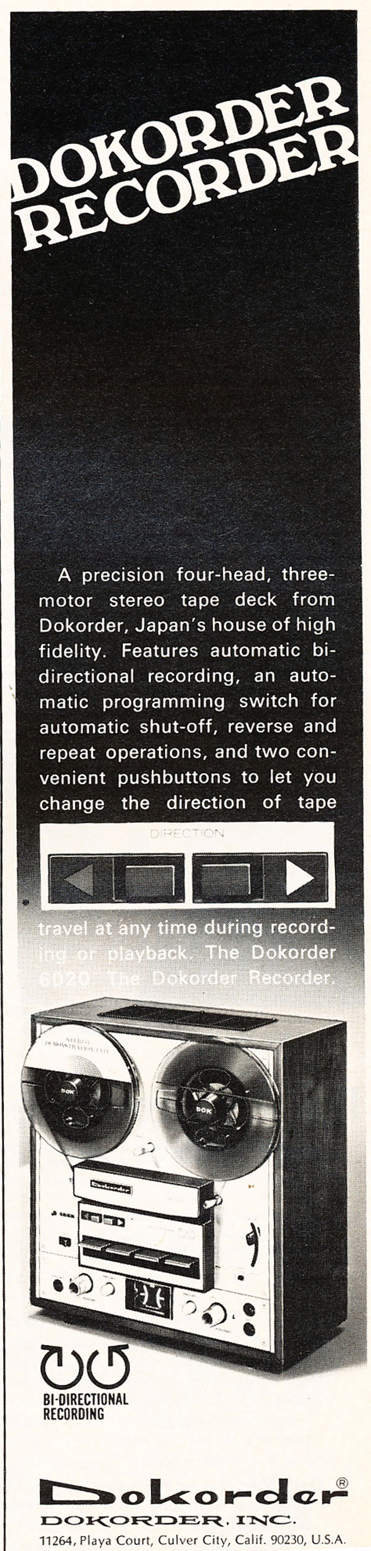 1972 Dorkorder 6020 reel to reel tape recorder ad in the Reel2ReelTexas.com vintage recording collection