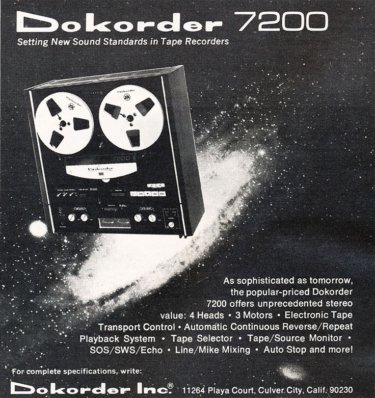 1972 Dorkorder 7200 reel to reel tape recorder ad in the Reel2ReelTexas.com vintage recording collection