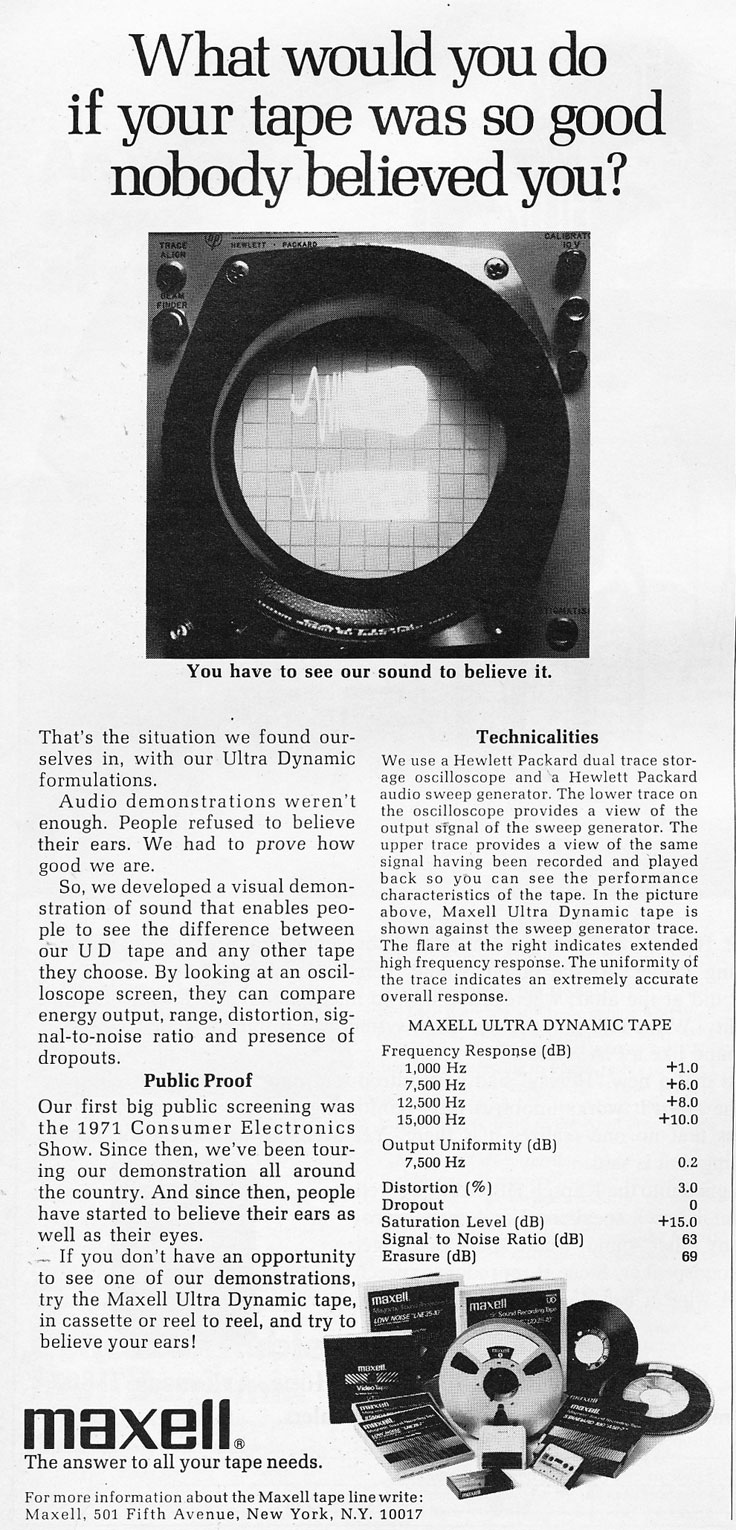 1972 ad for Maxell recording tape in the Reel2ReelTexas.com vintage recording collection