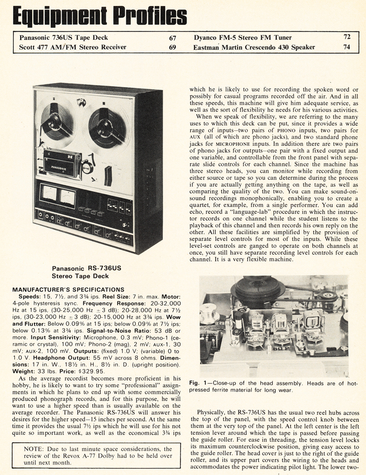 1972 review of the Panasonic RS-736US reel to reel tape recorder in Reel2ReelTexas.com's vintage recording collection