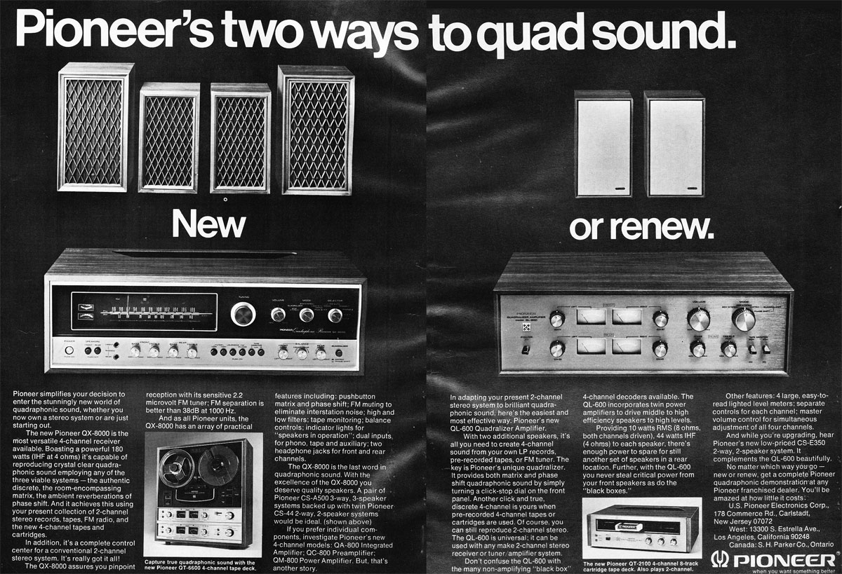 1972 ad for Pioneer quadraphonic reel to reel tape recorder ad  in the Reel2ReelTexas.com vintage recording collection