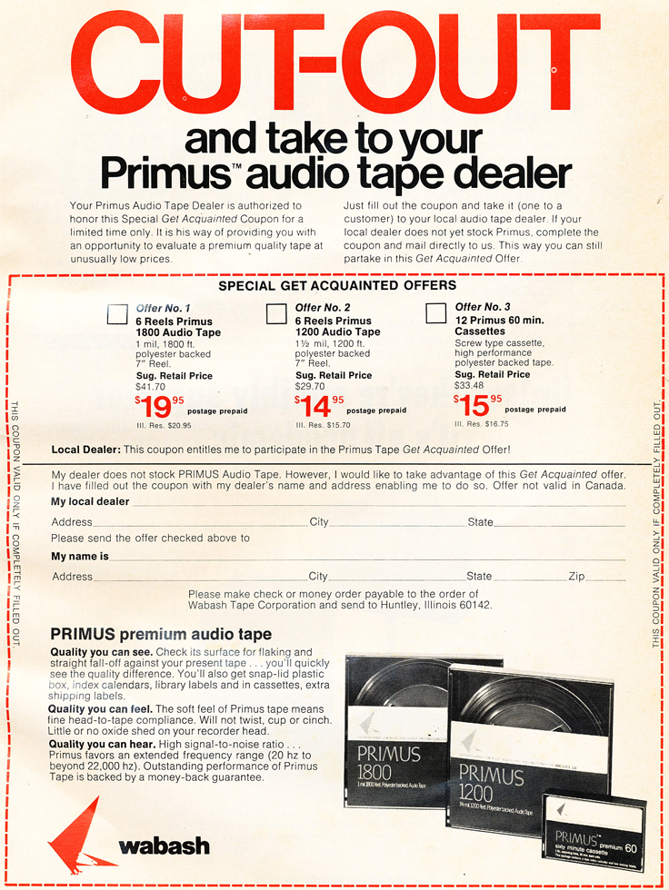 1972 ad for Primus recording tape in Reel2ReelTexas.com's vintage recording collection