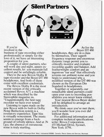 1972 ReVox A77 reel to reel tape recorder ad  in the Reel2ReelTexas.com vintage recording collection