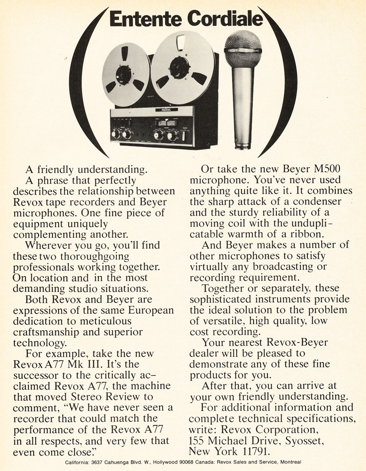 1972 ad for ReVox reel to reel tape recorders and Beyer microphones in Reel2ReelTexas.com's vintage recording collection