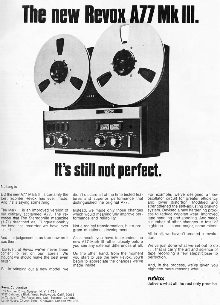 1972 ReVox A77 reel to reel tape recorder review  in the Reel2ReelTexas.com vintage recording collection