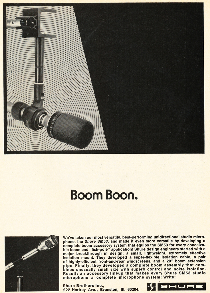 1972 ad for the Shure SM53 microphone in Reel2ReelTexas.com's vintage recording collection
