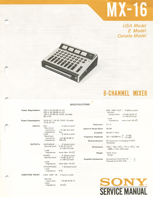 1972 Service manual for the Sony MX-16 mixer in Reel2ReelTexas.com's vintage reel tape recorder collection