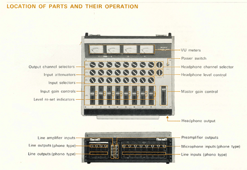 Sony MX-16 mixer manual in Phantom Productions' reel tape recorder collection