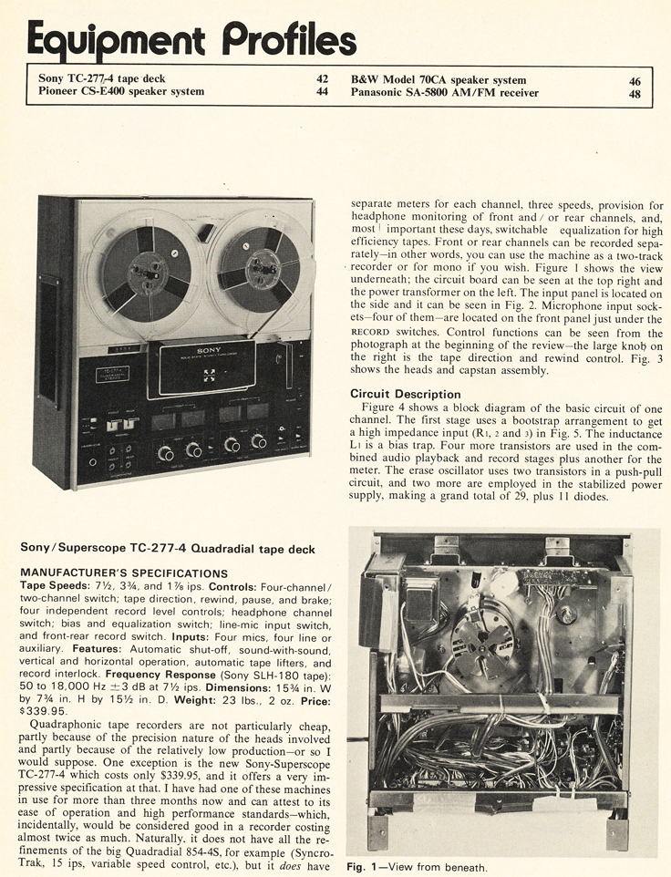 1972 review of the Sony TC-277 reel to reel tape recorder in Reel2ReelTexas.com's vintage recording collection