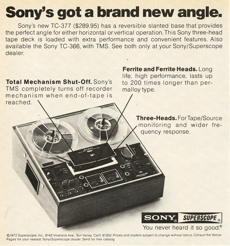 1972 ad for the Sony TC-377 reel to reel tape recorder in Reel2ReelTexas.com's vintage recording collection