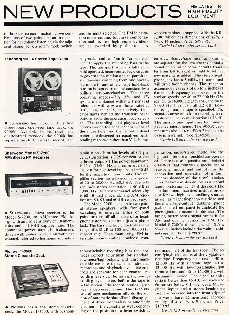 1972 listing New Products including the ReVox A77in Audio in Reel2ReelTexas.com's vintage recording collection