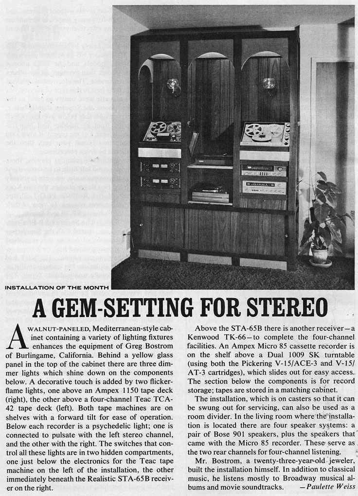 1972 installation review which includes the Teac TCA-42  series and an Ampex 1150 reel to reel tape recorder in the Reel2ReelTexas.com vintage recording collection