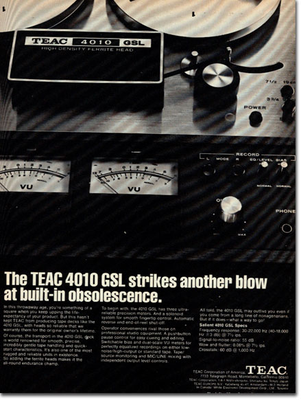 1972 ad for the Teac 4010L reel to reel tape recorder in the Reel2ReelTexas.com vintage recording collection