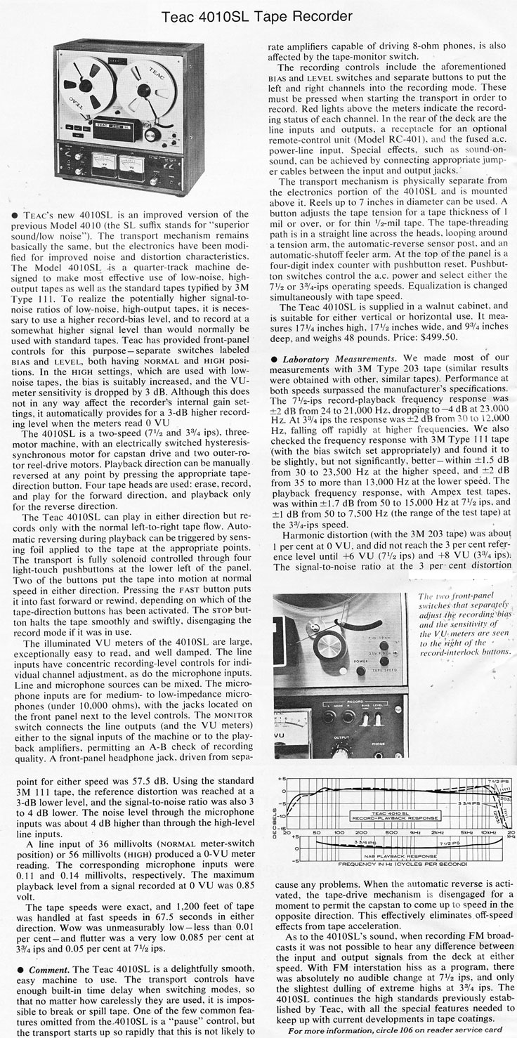 1972 review of the Teac 4010L reel to reel tape recorder in the Reel2ReelTexas.com vintage recording collection