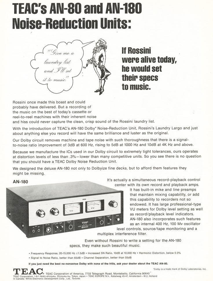 1972 ad for the Teac AN80 and the Teac AN180 Noise Reduction units in our Reel2ReelTexas.com's vintage recording collection