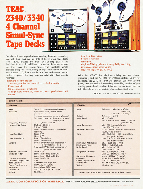 1972 ad for the Teac A-2240 & 3340 reel to reel tape recorder in the Reel2ReelTexas.com vintage recording collection