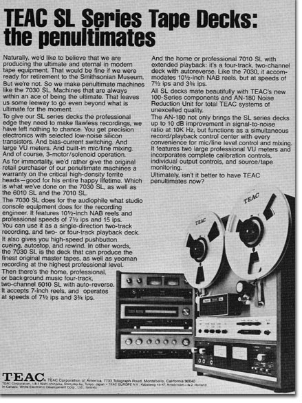 1972 ad for the Teac SL Series reel to reel tape recorder in the Reel2ReelTexas.com vintage recording collection