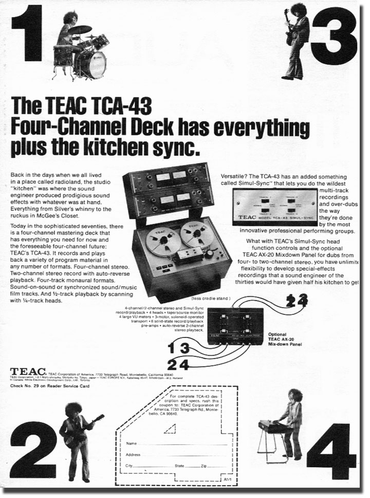 1972 ad Teac TCA-43 4 track Simil-Sync reel to reel tape recorder in the Phantom Productions, Inc.'s Reel2ReelTexas.com