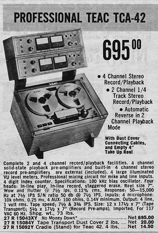 Teac TCA ads for the  4 track Simil-Sync reel to reel tape recorder in the Phantom Productions, Inc.'s Reel2ReelTexas.com