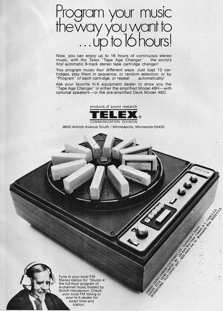 1972 ad for a Telex 8-Track cartridge changer in the Reel2ReelTexas.com vintage recording collection
