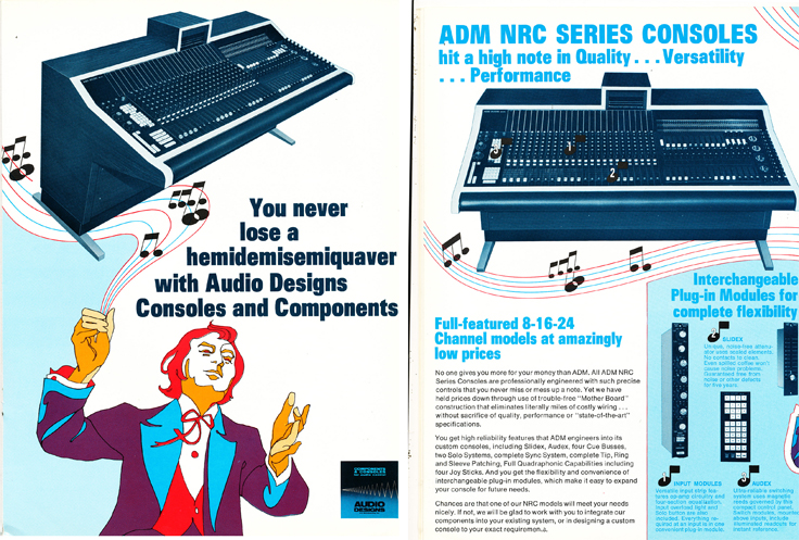 974 ad for Audio Designs consoles in Reel2ReelTexas.com's vintage recording collection