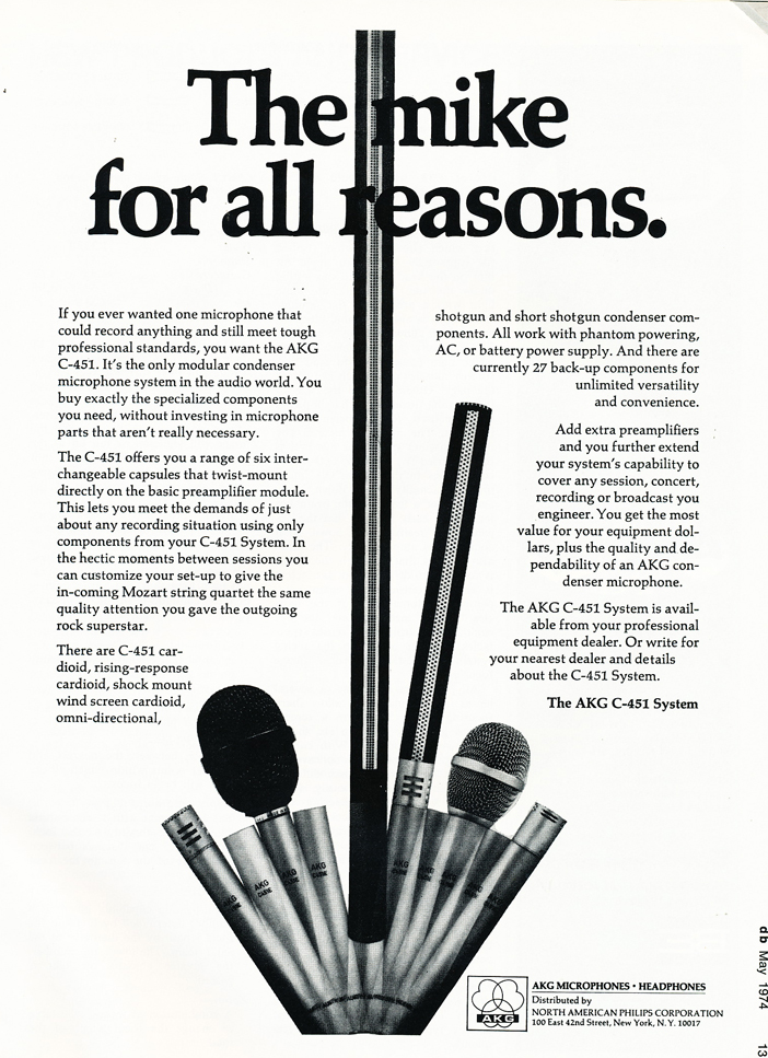1974 AKG microphone ad in Reel2ReelTexas.com's vintage recording collection