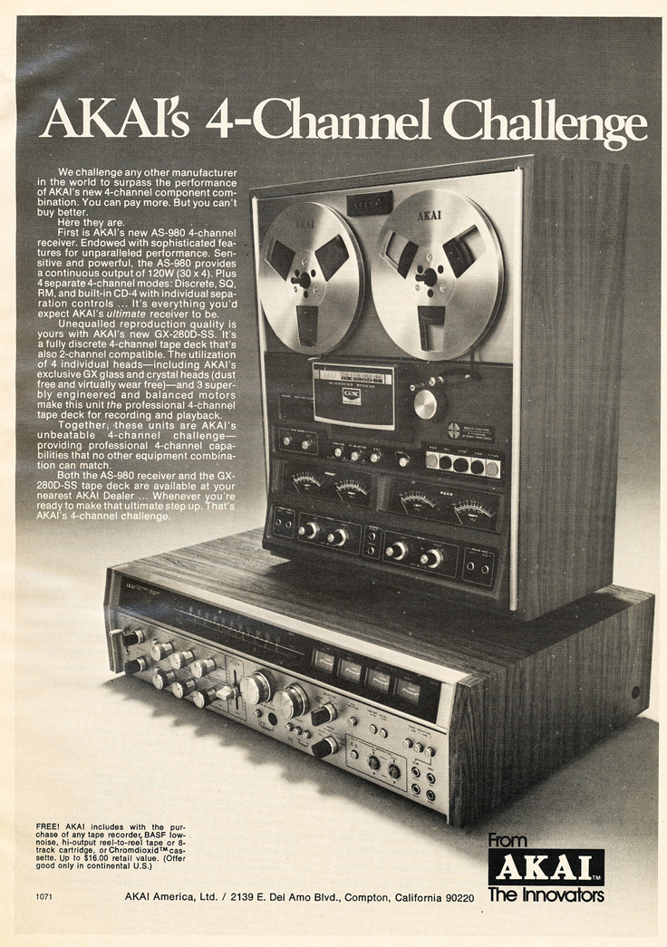 1974 ad for the Akai GX-280D-SS 4 channel reel to reel tape recorder in   Reel2ReelTexas.com's vintage recording collection