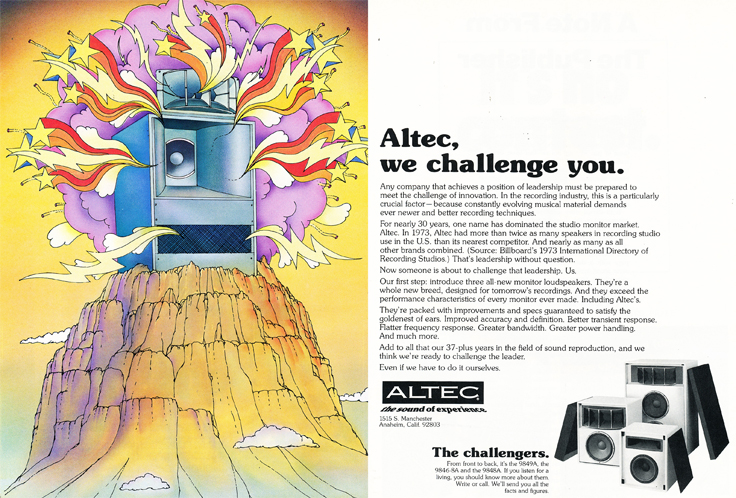 1974 Altec speaker ad in   Reel2ReelTexas.com's vintage recording collection