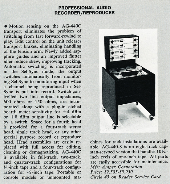1974 review of the Ampex AG-440C professional reel to reel tape recorder in Reel2ReelTexas.com's vintage recording collection