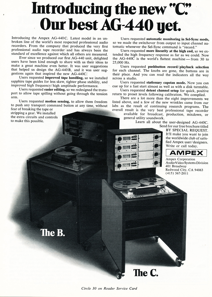 1974 ad for the Ampex AG-440C professional reel to reel tape recorder in Reel2ReelTexas.com's vintage recording collection