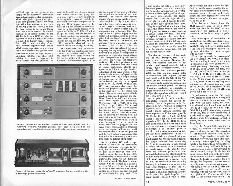 1974 review of the Ampex Ag-440 series reel tape recorder  in Phantom Productions vintage recording collection