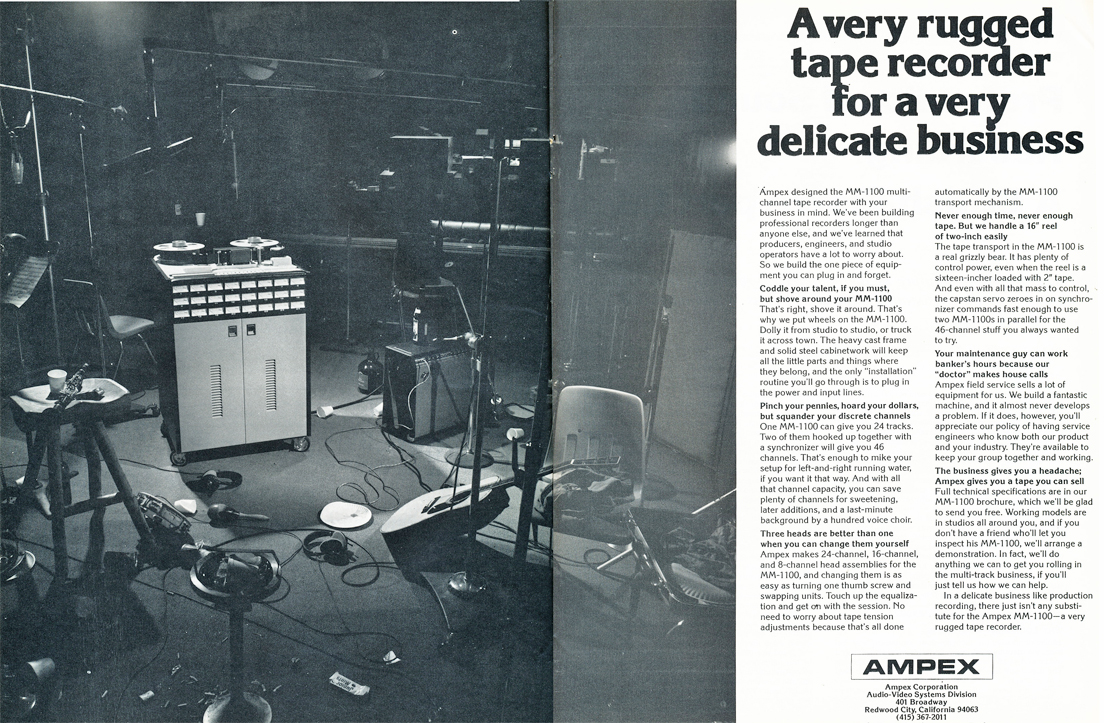 1974 ad for the Ampex MM=1100  professional reel to reel tape recorder in Reel2ReelTexas.com's vintage recording collection