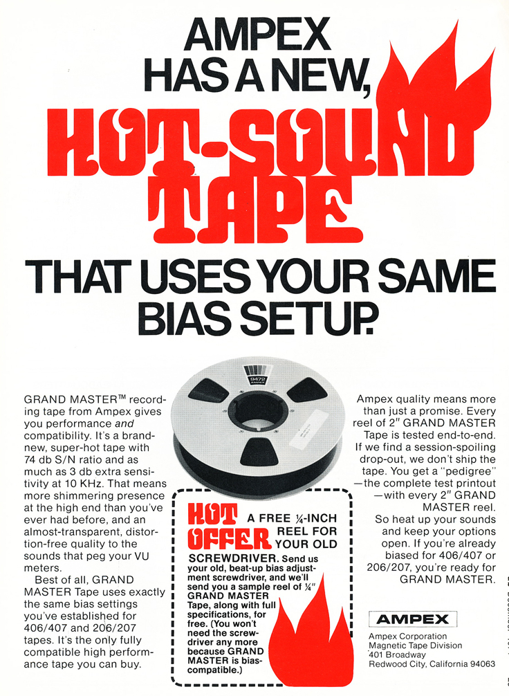 1974 ad for the Ampex reel to reel recording tape in Reel2ReelTexas.com's vintage recording collection