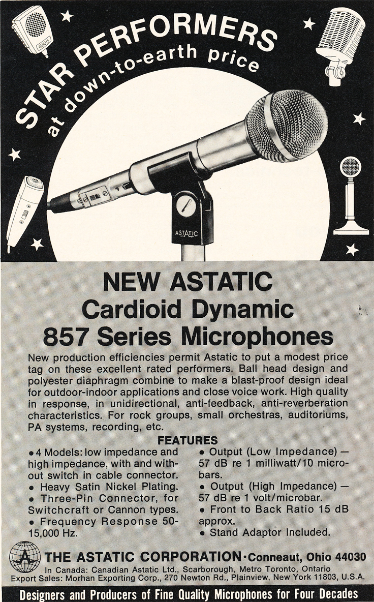 1974 ad for Astatic micrphones in Reel2ReelTexas.com's vintage recording collection