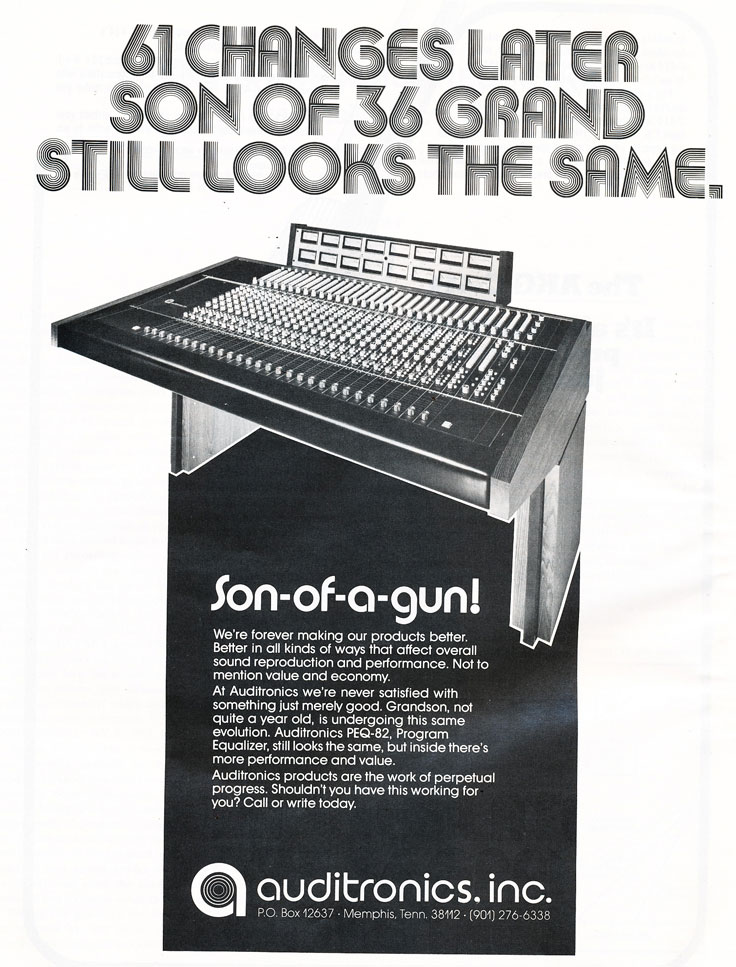 1974 ad for the Audiotronics console in Reel2ReelTexas.com's vintage recording collection