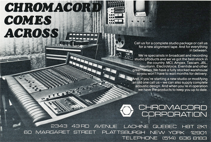 1974 Chromacord ad in Reel2ReelTexas.com's vintage recording collection