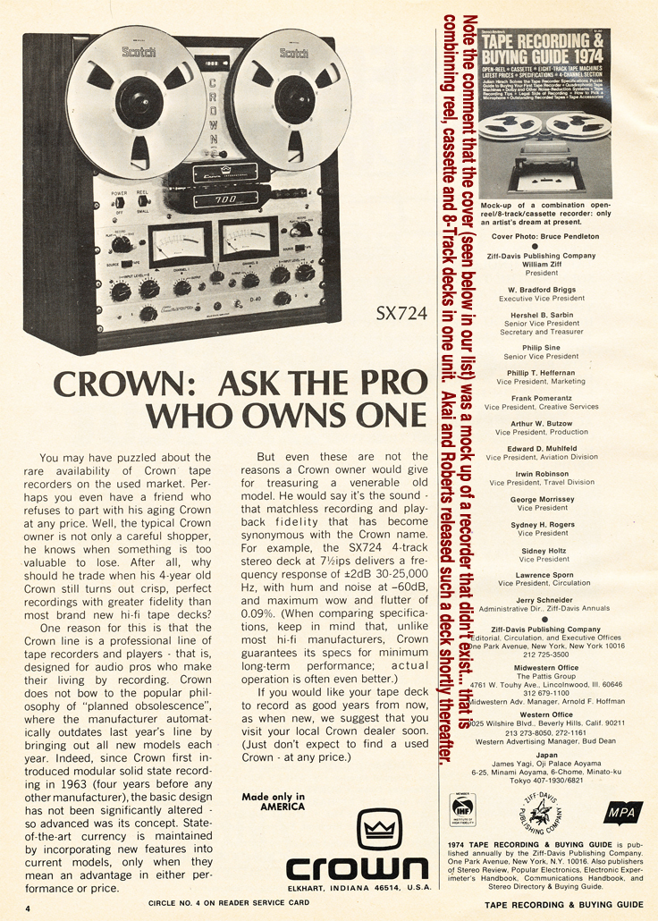 1974 Crown SX724 professional reel to reel tape recorder ad in Reel2ReelTexas.com's vintage recording collection.  please note on that page under the picture of the magazine cover, that the editor notes that the mockup on the cover is of a tape recorder that doesn't exist.  That is one that combines 3 decks: reel to reel; cassette and and 8-Track player.  Shortly thereafter both Akai and Robert released such a model in their Akai X-2000SC and Roberts 333X