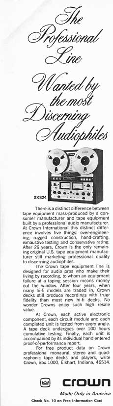 1974 ad for the Crown SX 824 reel to reel tape recorder ad in Phantom Productions vintage recording collection