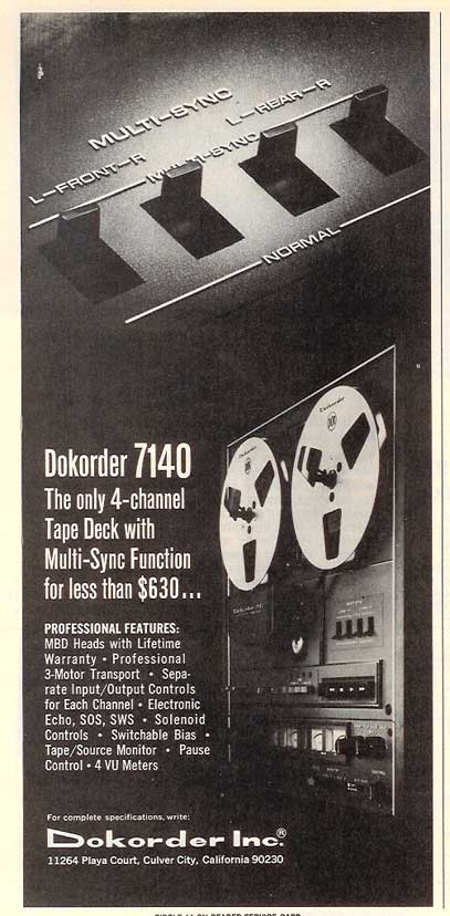 1974 Dokorder reel to reel tape recorder ad in Phantom Productions vintage recording collection
