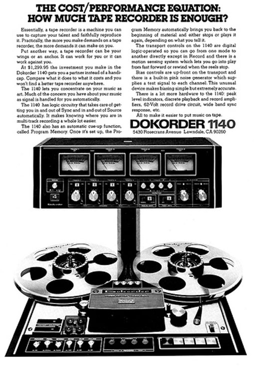 1974 ad for the Dokorder 1140 reel tape recorder in Reel2ReelTexas.com's vintage recording collection