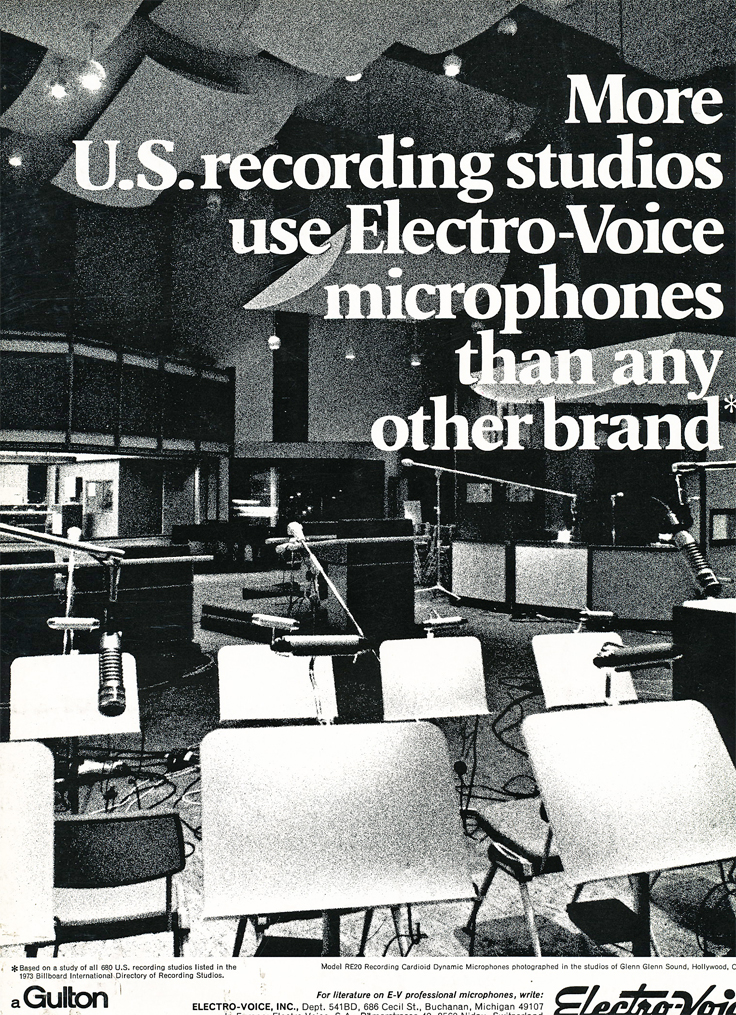 1974 ad for the Electro Voice microphones in Reel2ReelTexas.com's vintage recording collection