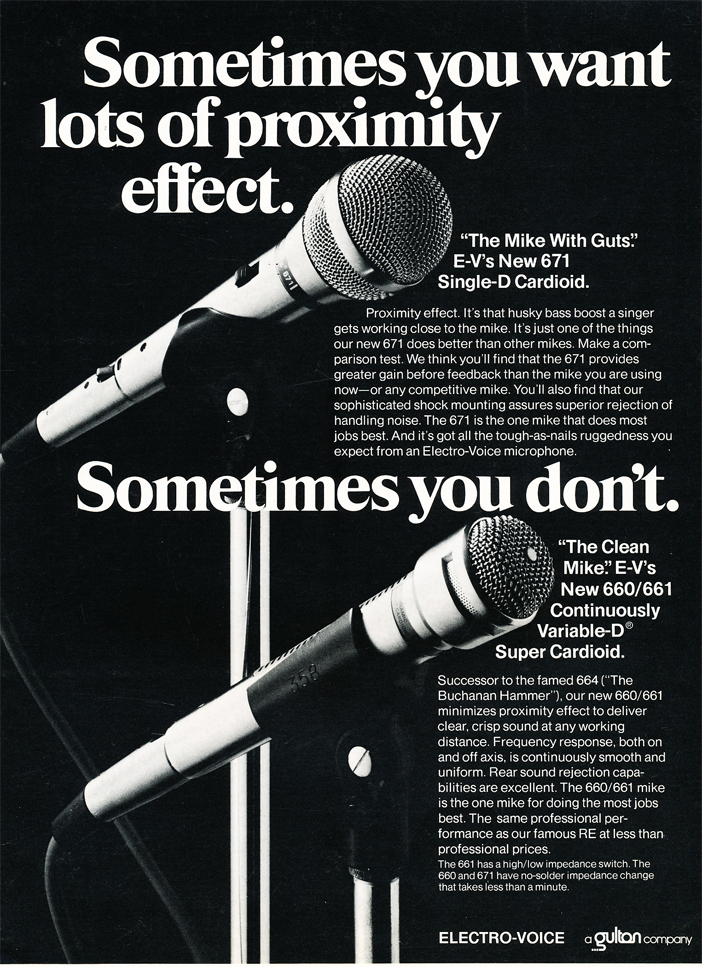 1974 ad for the Electro Voice 660, 661 & 671 microphones in Reel2ReelTexas.com's vintage recording collection