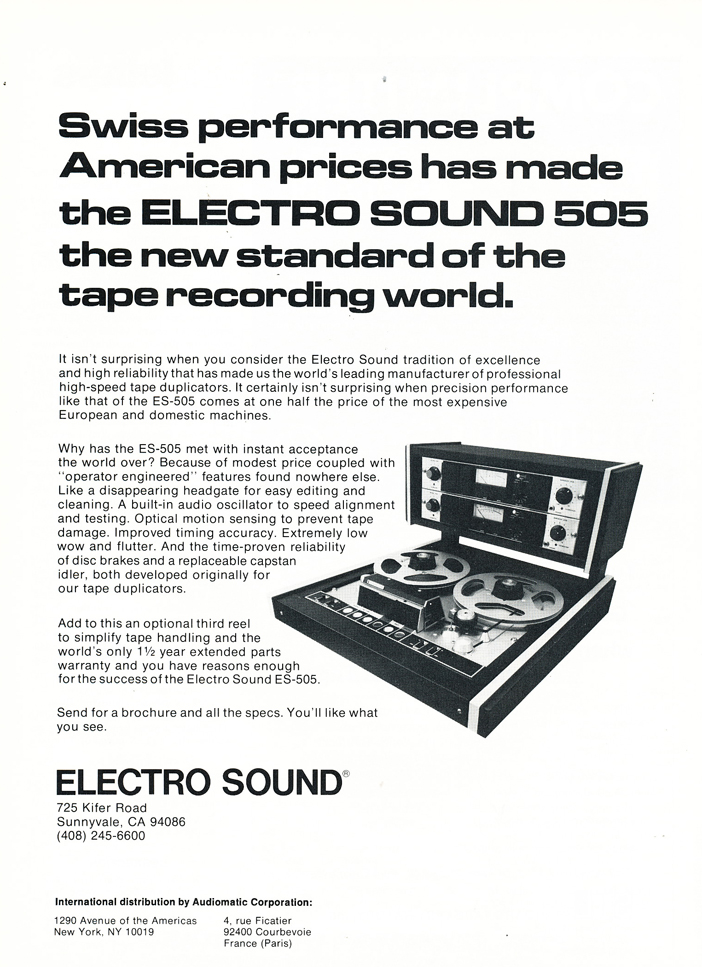 1974 Electro Sound 505 ES reel to reel tape recorder ad in Reel2ReelTexas.com's vintage recording collection