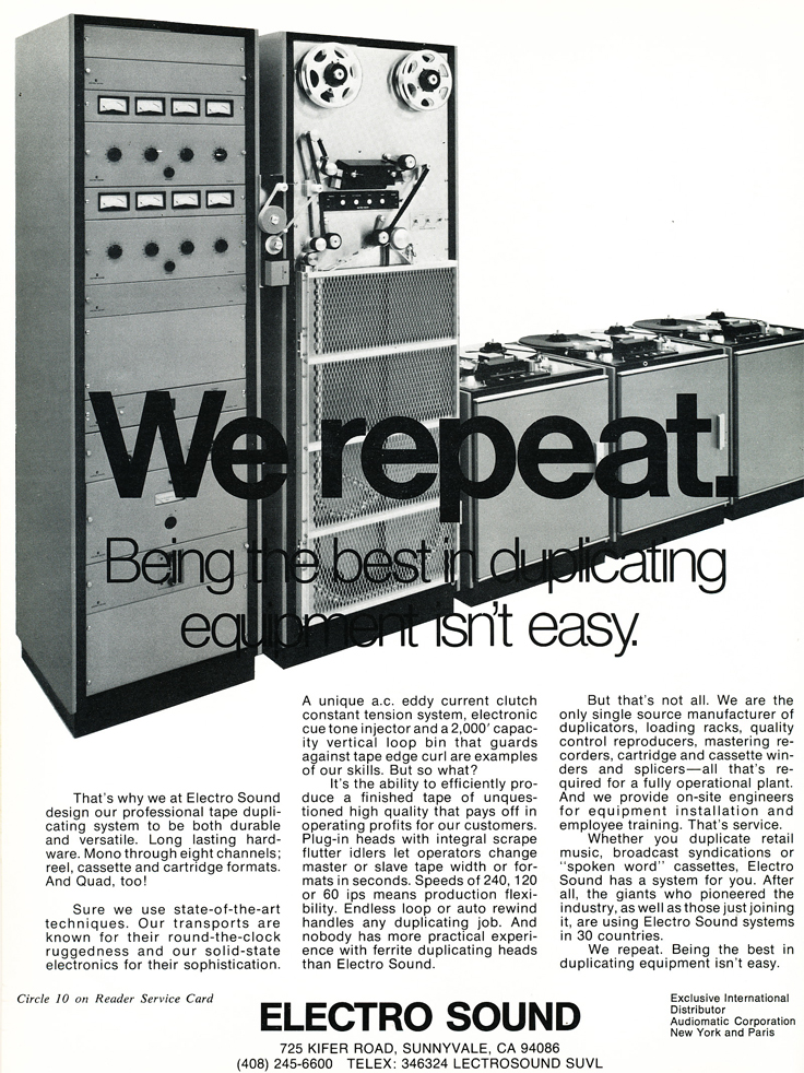1974 Electro Sound reel tape duplicator ad in Reel2ReelTexas.com's vintage recording collection