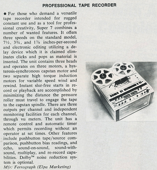 1974 review about the Ferrograph Super Seven reel to reel tape recorder in Reel2ReelTexas.com's vintage recording collection