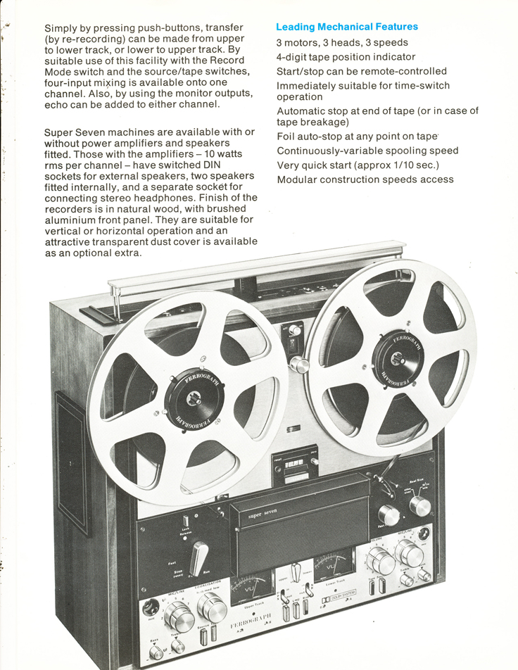 1974 brochure about the Ferrograph Super Seven reel to reel tape recorder in Reel2ReelTexas.com's vintage recording collection