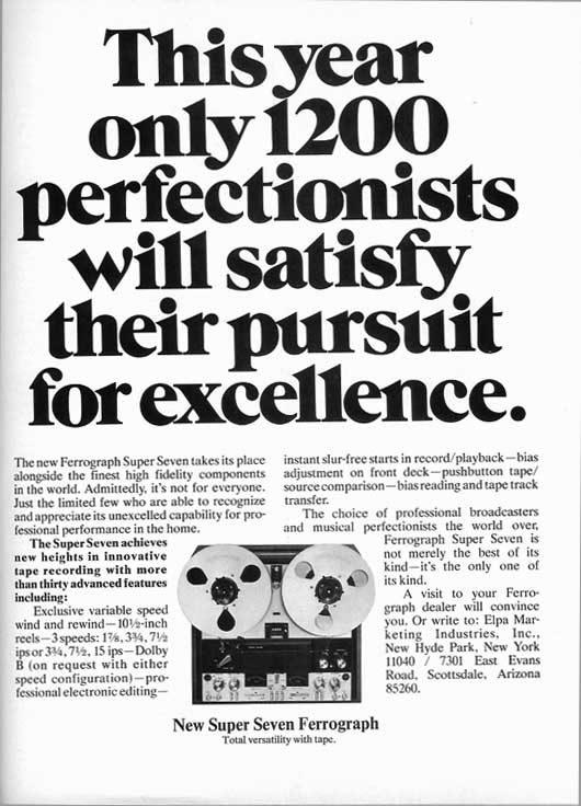 1974 Ferrograph Super Seven  reel to reel tape recorder ad in Phantom Productions vintage recording collection