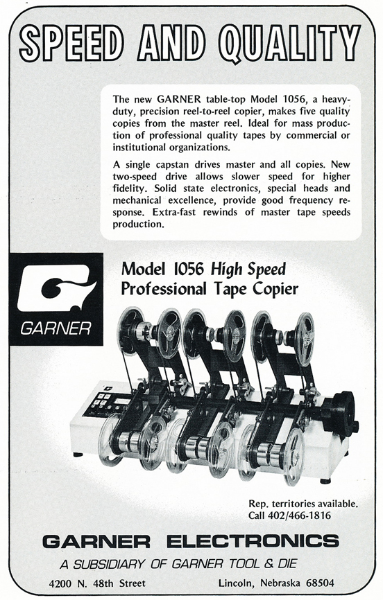 1974 ad for Garner  Electronics  tape copying system in Reel2ReelTexas.com's vintage recording collection